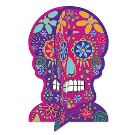Club Pack of 12 Colorful 3-D Day of The Dead Centerpiece Halloween Decorations 11.75