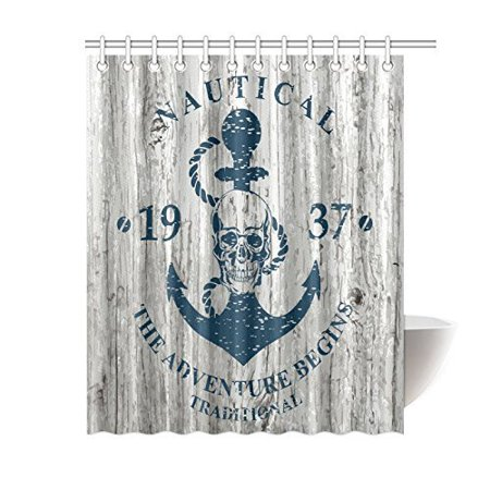 MYPOP Ocean Lover Nautical Anchor Shower Curtain And Accessories, Anchor Skull Rope Quotes Nautical The Adventure Begins Message History Fabric Shower Curtain 60 X 72 Inches - Nautical Accessories