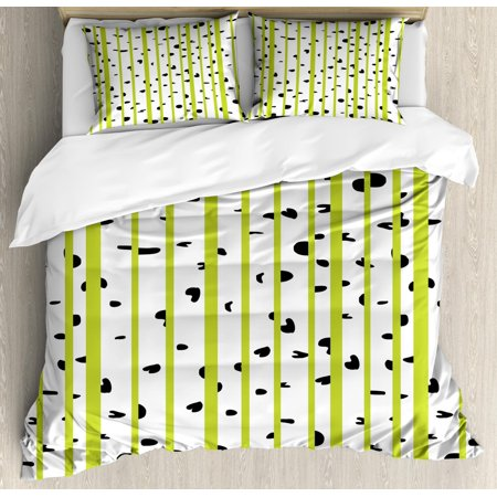 Aspen Wood Bedding (Aspen Tree Duvet Cover Set King Size, Abstract Style Birch Woods Growth Stems Theme with Color Splashes, Decorative 3 Piece Bedding Set with 2 Pillow Shams, Yellow Green Black White, by Ambesonne)