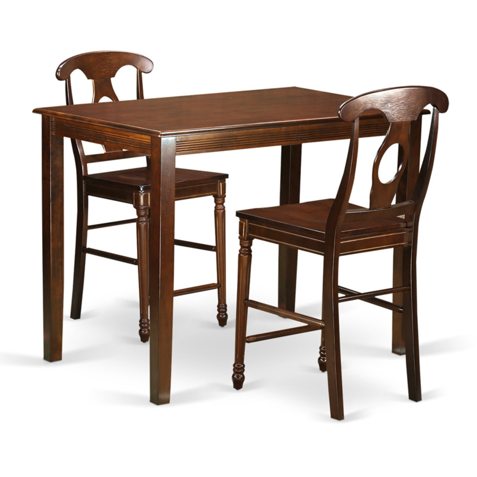 East West Furniture Yarmouth 3 Piece Keyhole Dining Table Set