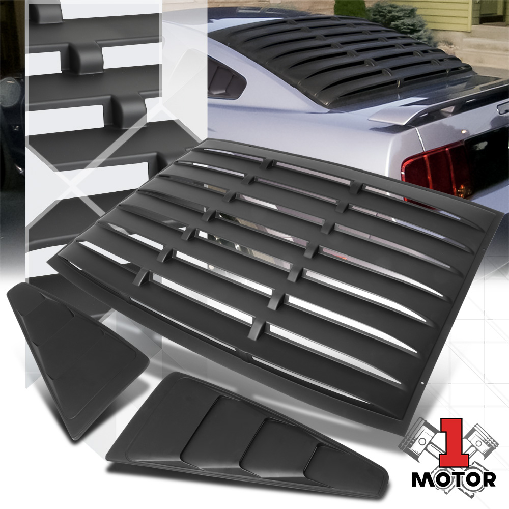 OCPTY Side Window Louver Windshield Sun Shade Cover Black Compatible With 2005-2014 for Ford Mustang