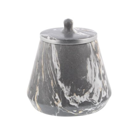 Decmode Contemporary 10 Inch Marbling Gray And White Ceramic Pear-Shaped Jar With Lid, (Pear Kitchen Canister)