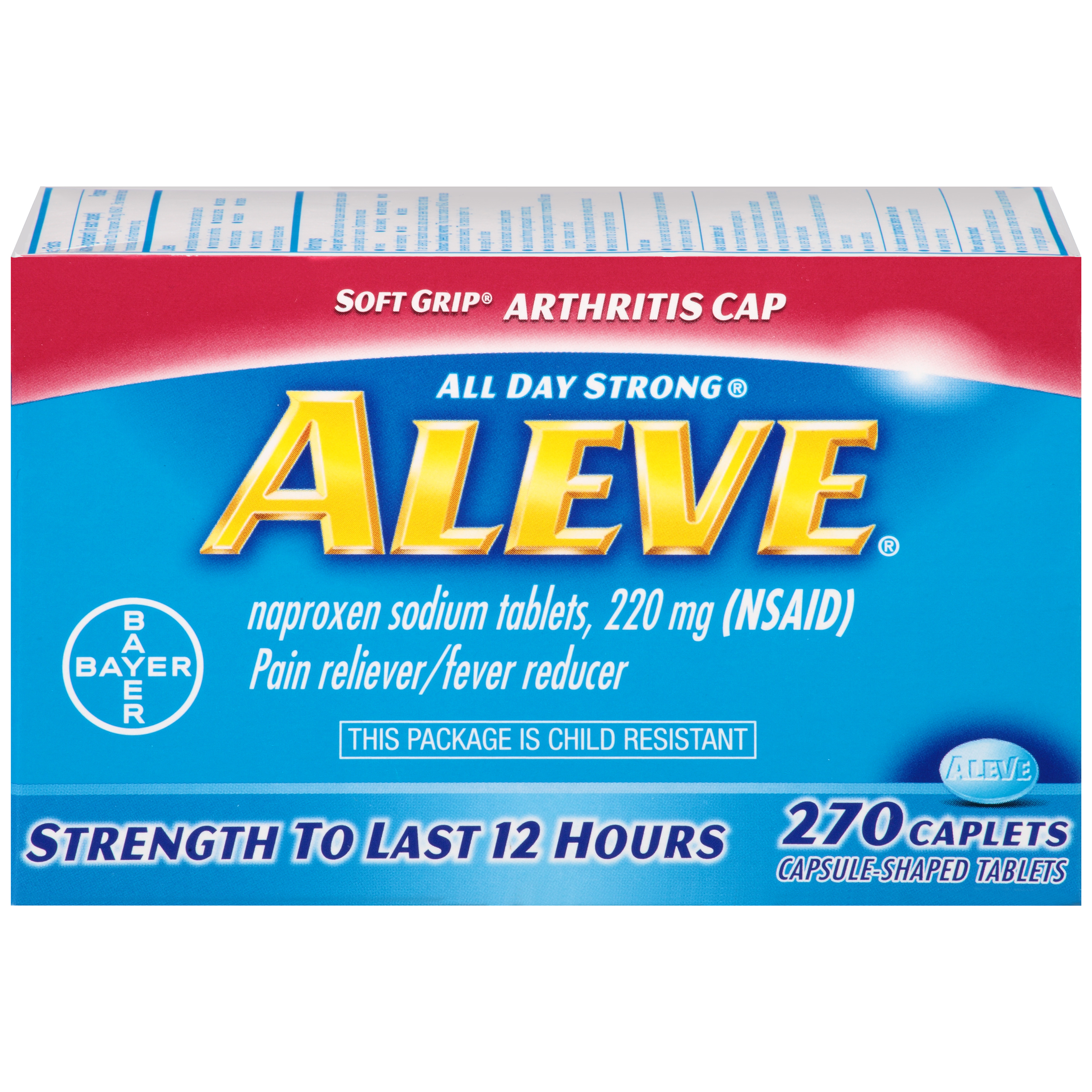 Aleve Easy Open Arthritis Cap Pain Reliever/Fever Reducer Naproxen Sodium Caplets, 220 mg, 100 Ct