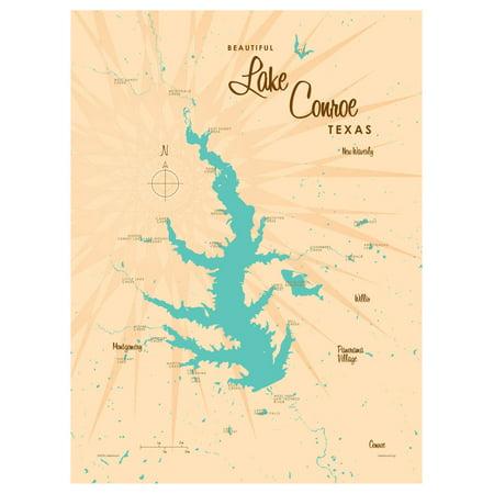 Lake Conroe Texas Map Vintage-Style Art Print by Lakebound (9