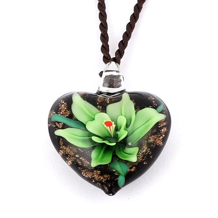 Nylon String Heart Style Glass Pressed Flower Pendant Necklace Green Black ()