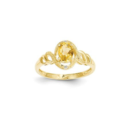 10kt Yellow Gold Citrine Diamond Band Ring Size 7.00 Stone Birthstone November Oval Style Fine Jewelry Ideal Gifts For Women Gift Set From Heart