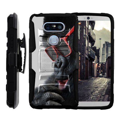 LG G5 H850 Miniturtle® Clip Armor Dual Layer Case Rugged Exterior with Built in Kickstand + Holster - Gorilla with Sunglasses Eyeglasses Sunglasses Phone Case