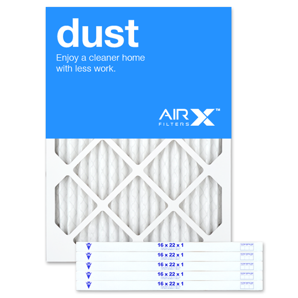 AIRx Filters Dust 16x22x1 Air Filter MERV 8 AC Furnace Pleated Air Filter Replacement Box of 6, Made in the USA