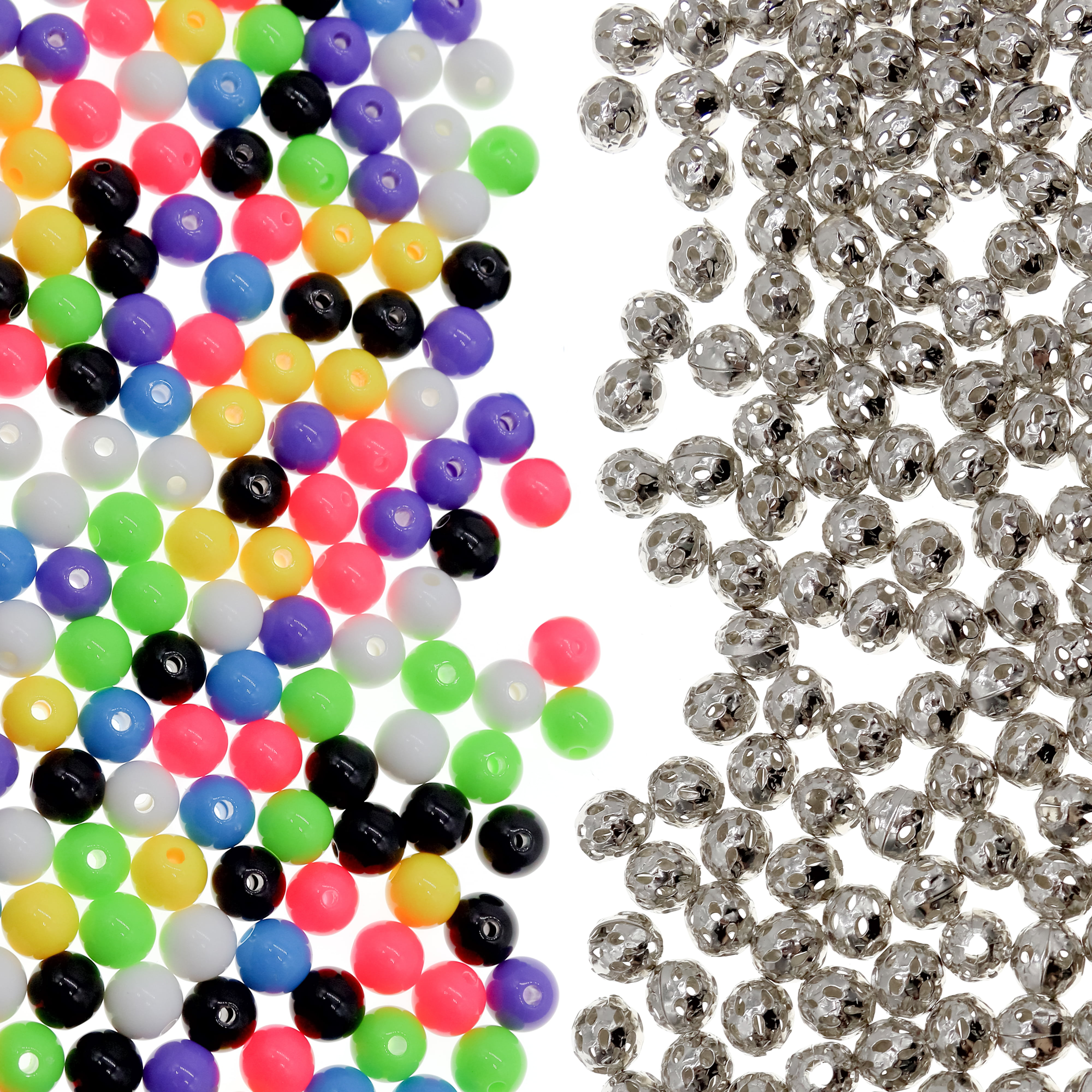 1.4mm Hole 300 Mixed Acrylic Swirl and Strip Glazed Spacer Beads 8mm Round