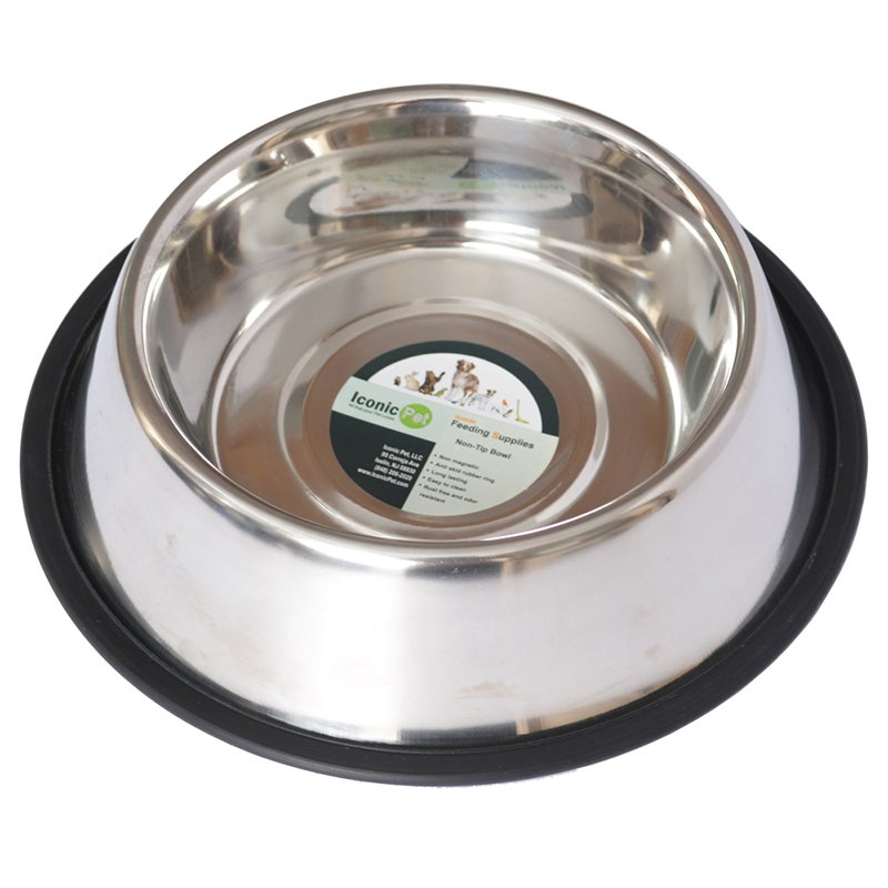 Iconic Pet Stainless Steel Non-Skid Pet Bowl For Dog or Cat, 96 Oz, 12 Cup