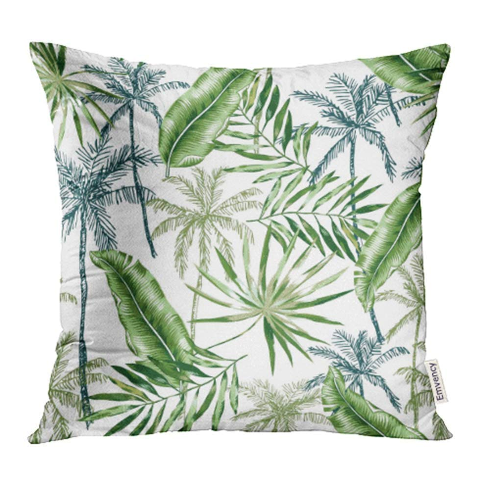 CMFUN Green Banana Palm Trees Leaves with White Tropical Jungle Foliage Exotic Plants Pillowcase Cushion Cases 20x20 inch