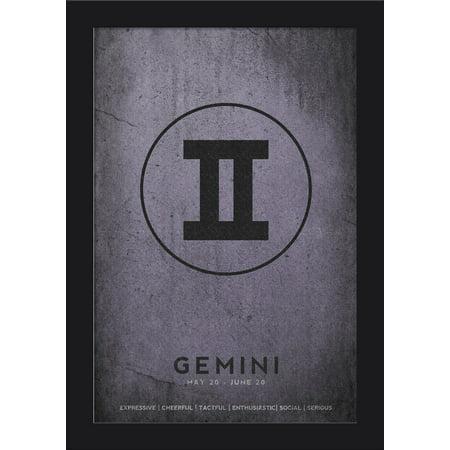 Cancer Zodiac Frame (Gemini - Astrological Sign - Zodiac - Lantern Press Artwork (12x18 Giclee Art Print, Gallery Framed, Black)