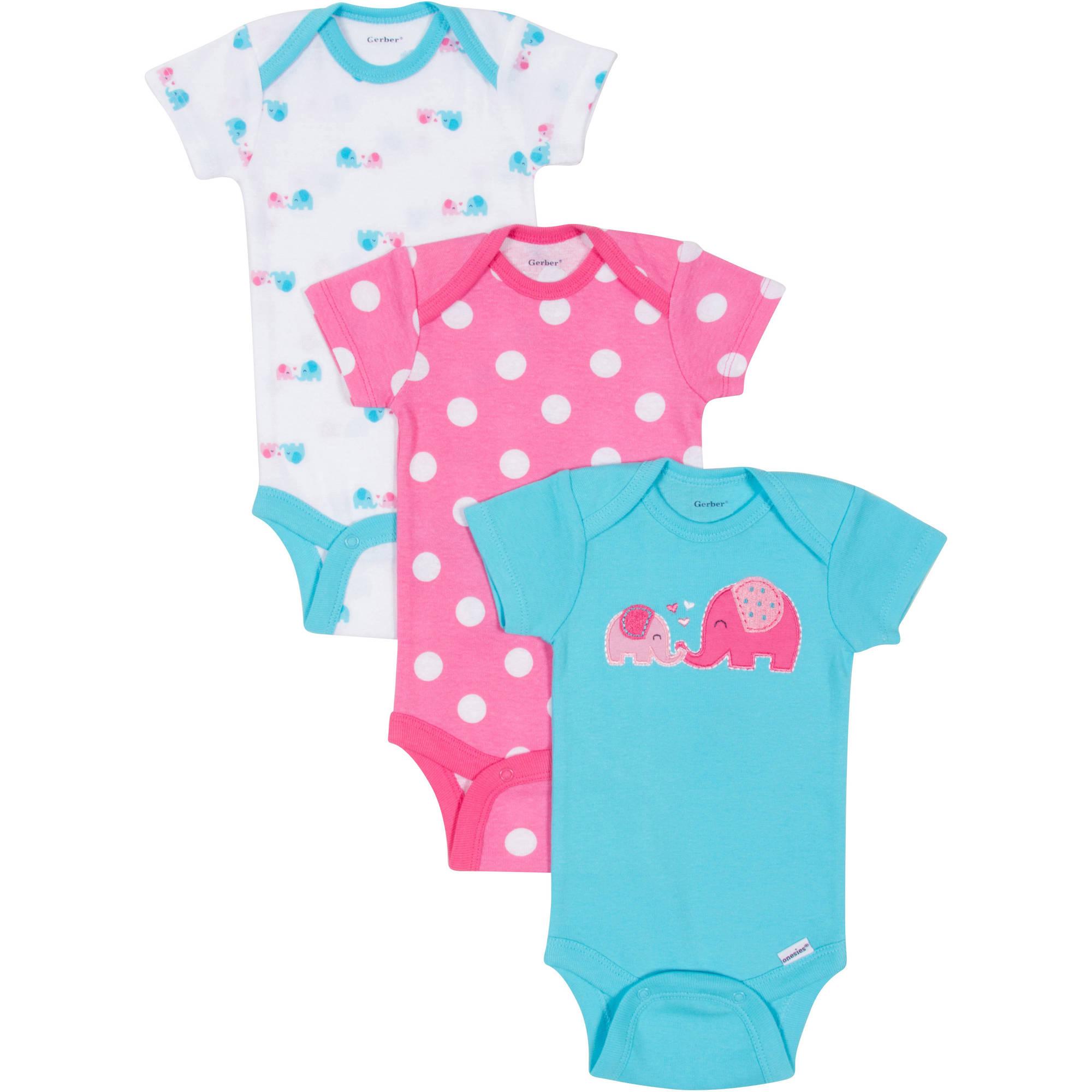 Gerber Newborn Baby Girl Bodysuits Variety, 3-Pack