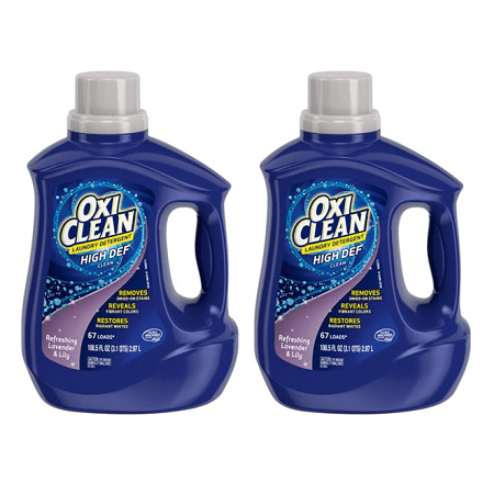 (2 pack) OxiClean Liquid Laundry Detergent, Refreshing Lavender & Lily Scent, 100.5 (Oxiclean Laundry Detergent)