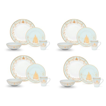 Disney Themed 16 Piece Ceramic Dinnerware Set | Plates | Bowls | Mugs ()