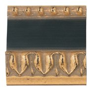 "Picture Frame Moulding (Wood) - Ornate Gold Finish - 2.25"" width - 5/8"" rabbet depth"