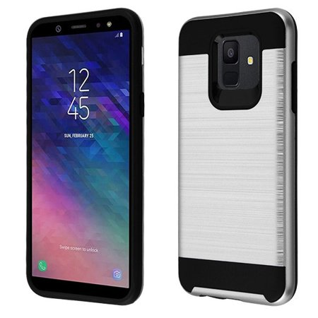 Samsung Galaxy A6 (2018 Model) - Phone Case Protective Shockproof Brushed Hybrid Rubber Rugged Cover SILVER Slim Phone Case for Samsung Galaxy A6