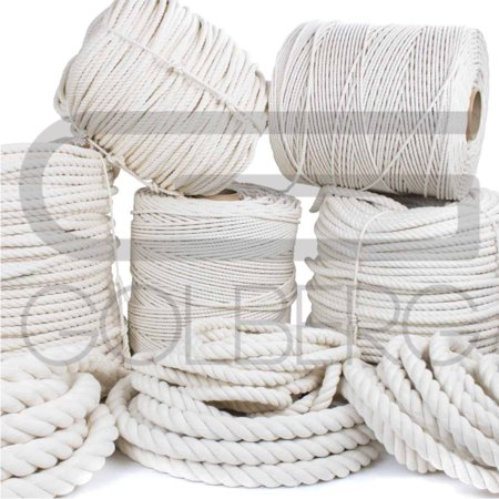 Golberg 100% Natural Cotton Rope - 5/32, 3/16, 7/32, 1/4, 5/16, 3/8, 1/2, 5/8, 3/4, 1, 1-1/4, and 1-1/2 Inch Diameters - Twisted White Cotton Rope - Several Lengths to Choose From Single Cotton Rope