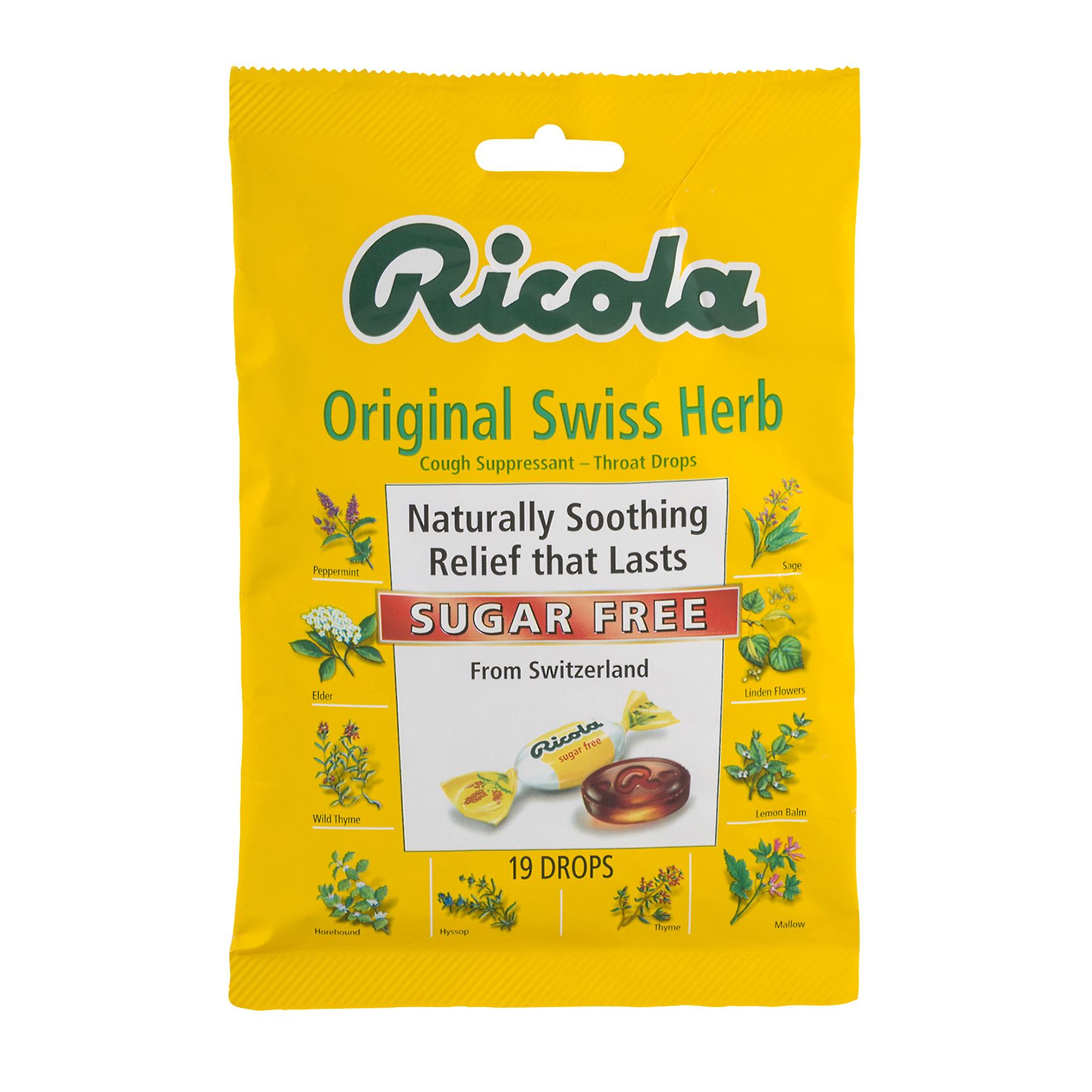 Ricola Herb Cough Suppressant Throat Drops Original Swiss Herb Sugar Free - 19 CT19.0 CT