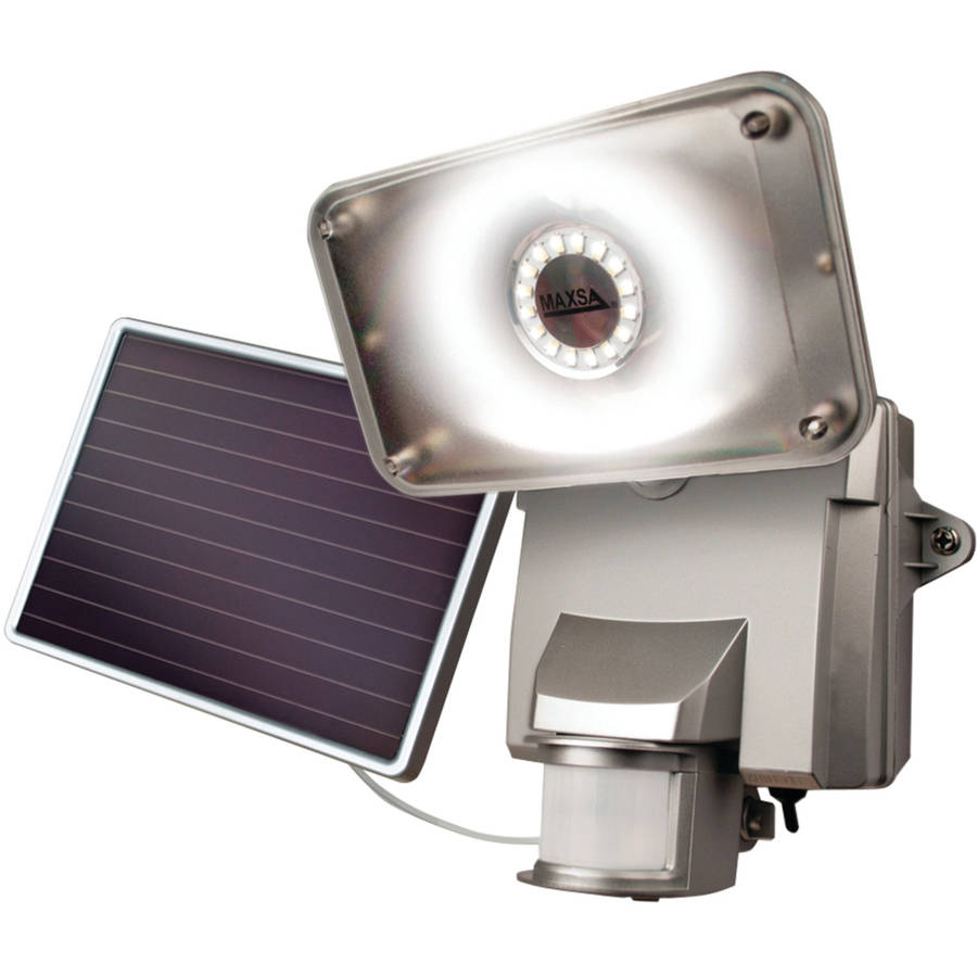 Maxsa Motion-Activated Solar Led Security Flood Light, Silver, 44640
