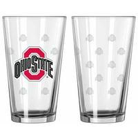 Ohio State Buckeyes Satin Etch Pint Glass Set