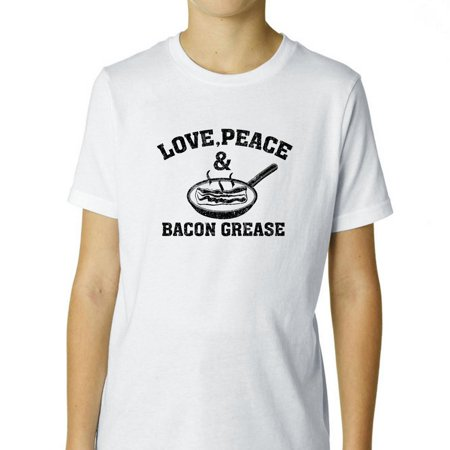 love peace bacon grease skillet popular boy 39 s cotton youth t shirt. Black Bedroom Furniture Sets. Home Design Ideas