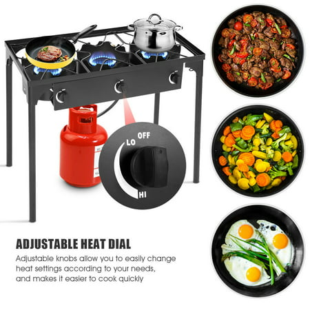 Portable Propane 225,000-BTU 3 Burner Gas Cooker Outdoor Camp Stove BBQ - image 6 of 10