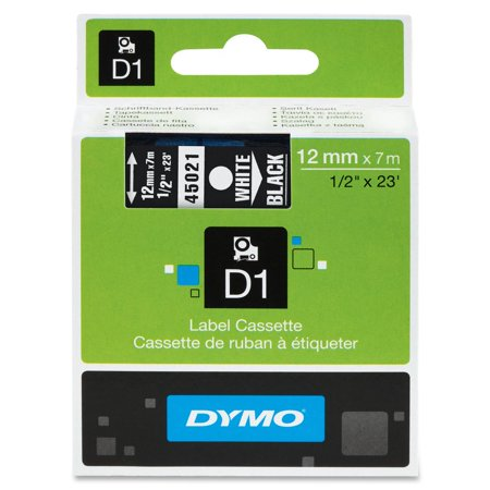 DYMO High-Performance Permanent Self-Adhesive D1 Polyester Tape for Label Makers, 1/2-inch, White Print on Black, 23-foot Cartridge,