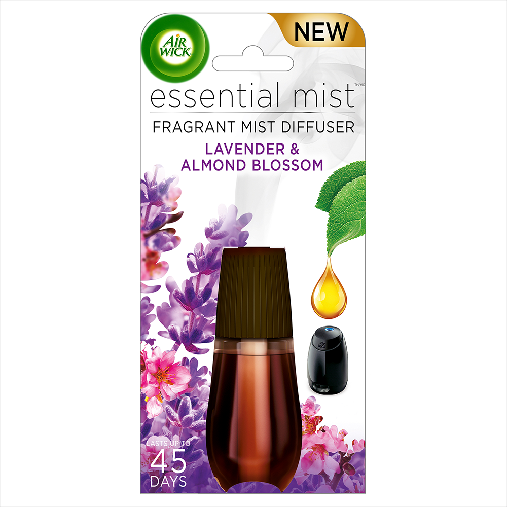 Air Wick Essential Mist Fragrance Oil Diffuser Refill, Lavender & Almond Blossom, 1ct