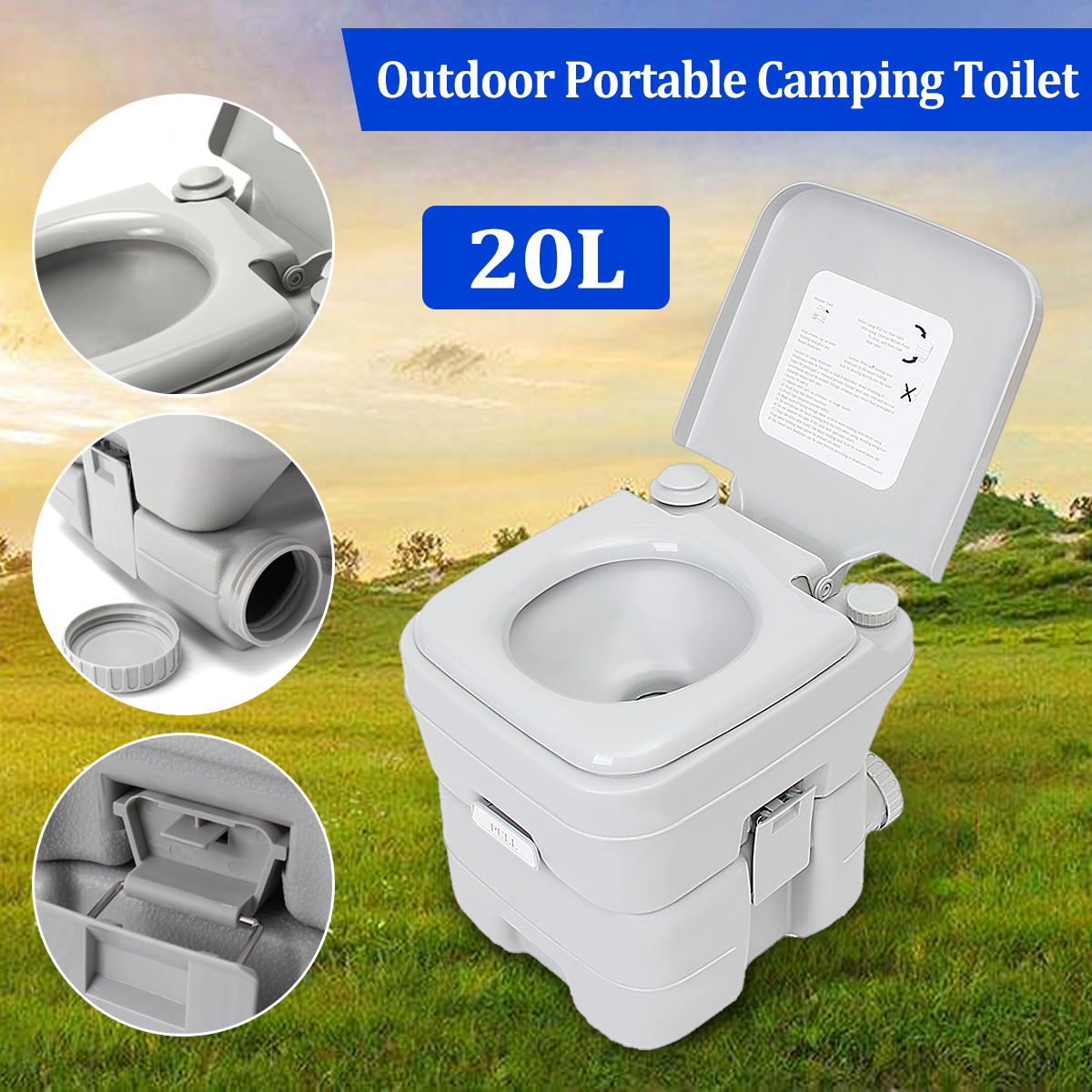 On Discount Portable Toilet 5 Gallon 20L Dual Spray Jets Travel Outdoor Camping Hiking... by