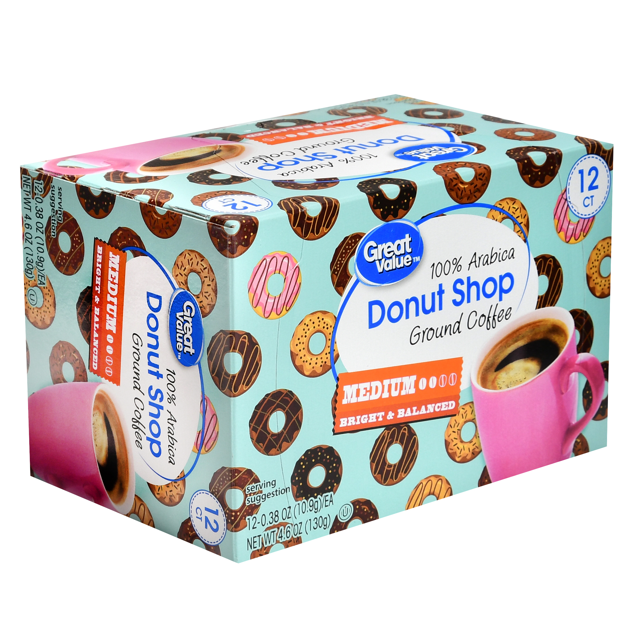 Great Value Donut Shop 100% Arabica Medium Ground Coffee, 0.38 oz, 12 count