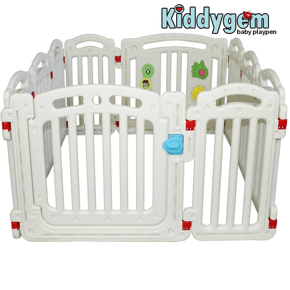 Kiddygem M7 extra tall baby playpen (10 panels) White Play Pen (15.5 sq.ft) by Kiddygem
