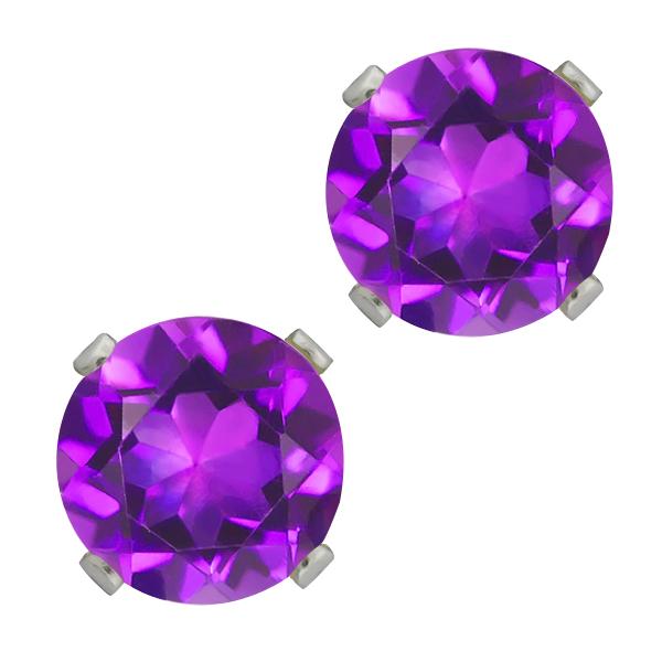 2.60 Ct Round Shape Purple Amethyst Sterling Silver Stud Earrings