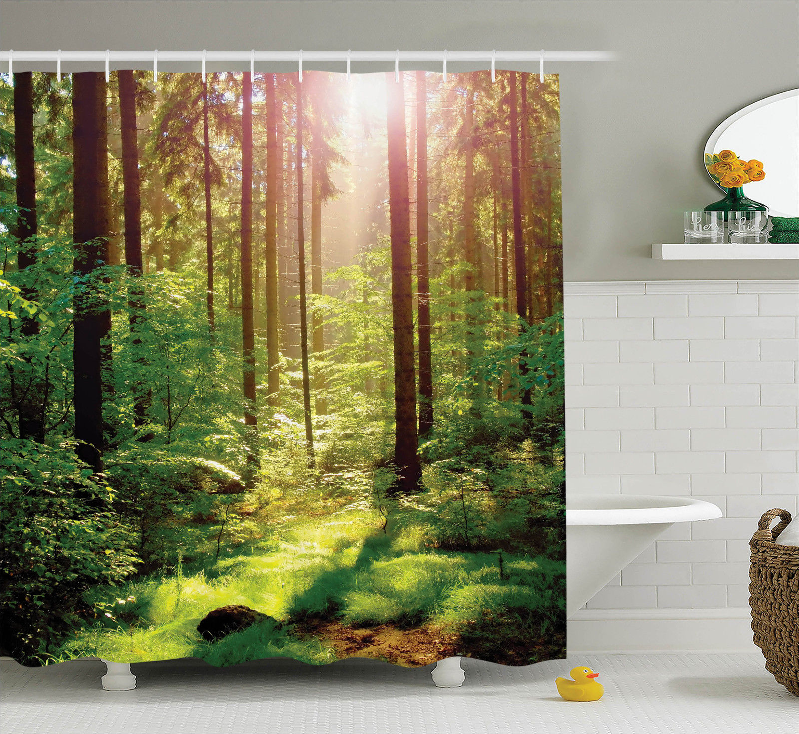 Farm House Decor Shower Curtain Set, Forest Spring Time Sunset Moss Woods Leaf Wilderness Fantasy Magical View, Bathroom Accessories, 69W X 70L Inches, By Ambesonne