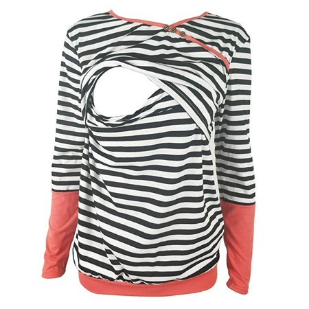 Jchiup Women's Long Sleeve Double Layers Striped Maternity Breastfeeding Nursing Tops