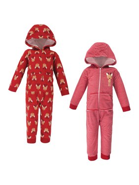 Hudson Baby Toddler and Baby Boy or Girl Unisex Fleece Jumpsuits & Coveralls, 2-Pack