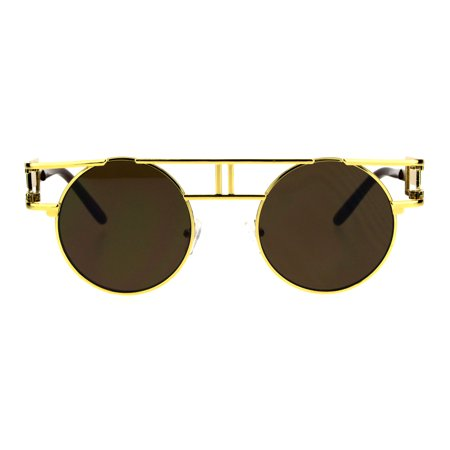 Art Deco Nouveau Unique Hippie Groove Pimp Round Circle Lens Sunglasses Yellow Gold - Devo Sunglasses