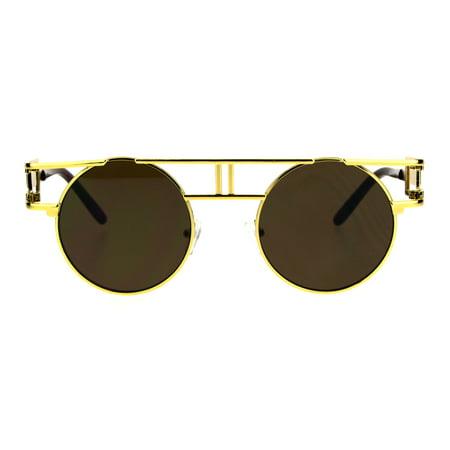 Art Deco Nouveau Unique Hippie Groove Pimp Round Circle Lens Sunglasses Yellow (Unique Sunglasses)