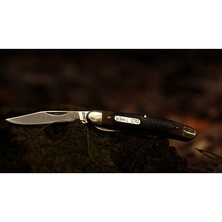 - 18OT Mighty Mite 4.7in Stainless Steel Traditional Folding Knife with 2in Clip Point Blade and Sawcut Handle for Outdoor Hunting Camping and Everyday Carry Old Timer