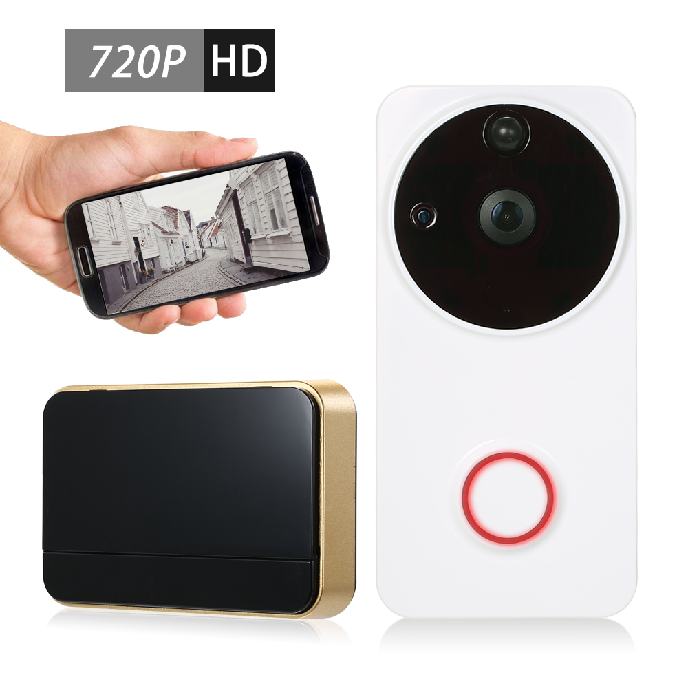 720P WiFi Visual Intercom Door Phone 2-way audio Video Doorbell Support Infrared Night View PIR Motion Remote Control with Wireless Doorbell Chime for Door Entry Access Control, White