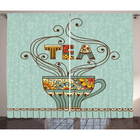 Image of Tea Curtains 2 Panels Set, Aromatic Beverage Drink Cup with Blossom Ornamental Swirled Lines on Spring Background, Window Drapes for Living Room Bedroom, 108W X 90L Inches, Multicolor, by Ambesonne