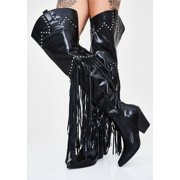 Cape Robbin Montana Black Fringe Thigh High Over Knee Western Cowboy Boots