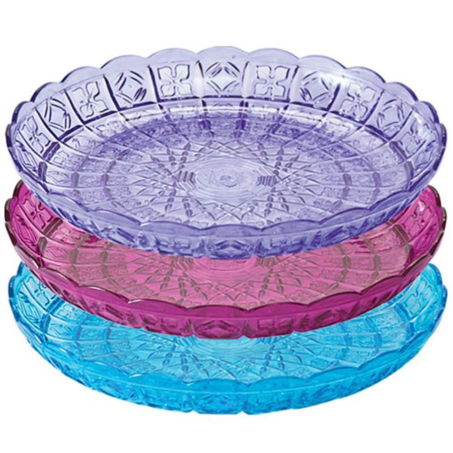 Party Dimensions 68351 11 inch Crystal Cut Plastic Trays  Assorted Colors - 25 Per Case