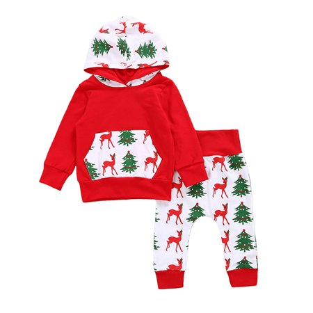 Baby Boys Girls Merry Christmas Clothing Set-Deer&Tree Print Long Sleeve Hoodie Tops+Long Pants Outfit - Christmas Outfit Boys
