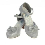 Girls Silver Glitter Rhinestone Strap Bella Dress Shoes