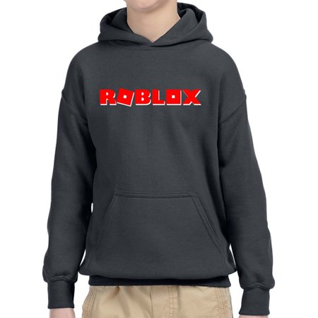 New Way 922 - Youth Hoodie Roblox Logo Game Filled Unisex Pullover Sweatshirt Small Charcoal