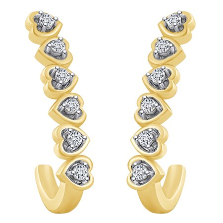0.1 Carat (cttw) Round Shape White Natural Diamond J Heart Hoop Earrings 14k Solid Yellow covid 19 (14k Yg Multi Gemstone coronavirus)