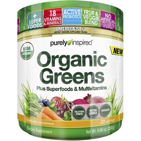 Purely Inspired Organic Super Greens Powder with Superfoods & Multivitamins (Non-GMO, Gluten Free, Vegan Friendly), Unflavored, 24 servings