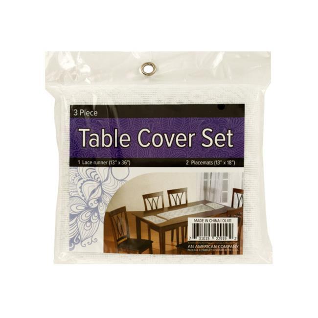 Bulk Buys OL411-16 Lace Table Cover Set with Placemats - 16 Piece - image 1 de 1