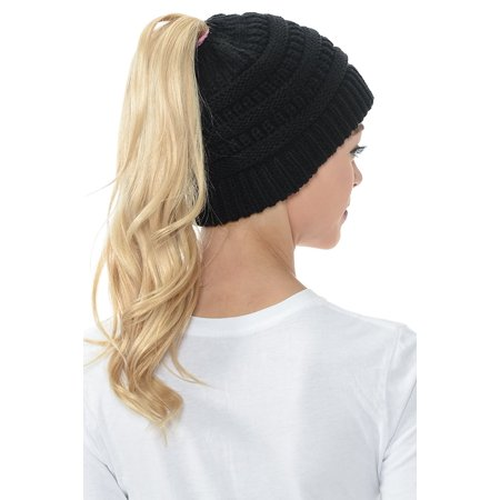ec89bd87dfd Senfloco - Women Beanie Hat Tail Knit Hat -Winter Warm Beanie Tail Soft  Stretch Cable Knit Messy High Bun Ponytail Beanie Hats for Women -  Walmart.com